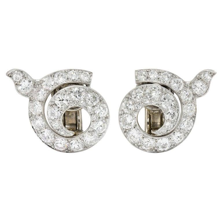 Cartier Paris Art Deco 5.00 Carats Diamond Platinum Swirl Earrings, Circa 1930's For Sale