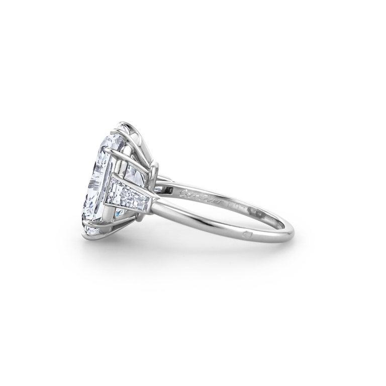 Women's Cartier Paris Art Deco 7.17 Carat Cushion Cut Diamond Platinum Engagement Ring For Sale