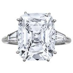 Cartier Paris Art Deco 7.17 Carat Cushion Cut Diamond Platinum Engagement Ring