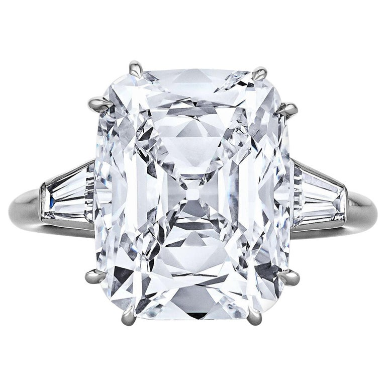 Cartier Paris Art Deco 7.17 Carat Cushion Cut Diamond Platinum Engagement Ring For Sale