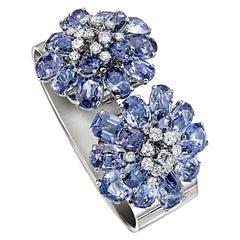 Cartier Paris Art Deco Cuff Bracelet Removable Sapphire Diamond Clips