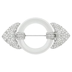 Cartier Paris Art Deco Diamond and Rock Crystal Brooch