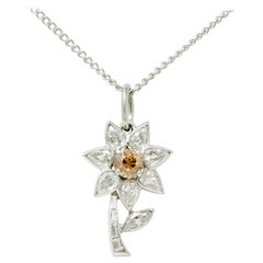 Cartier Paris Art Deco Diamond Platinum Flower Pendant Necklace