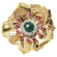 Cartier Paris Art Deco Emerald Ruby Diamond Flower Brooch