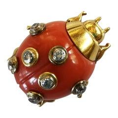 Cartier Paris Art Deco Diamond Coral Ladybird Yellow Gold Clip Brooch