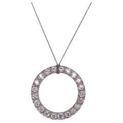 Cartier Paris Art Deco Old European Diamond Platinum Circle Pendant