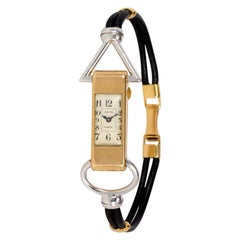 Cartier, Paris Art Deco Two-Color Gold Backwinder Wristwatch with Leather Band