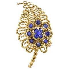 Cartier Paris Blue Sapphire Gold Leaf Brooch Pin