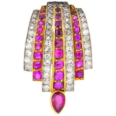 Cartier Paris Burma Ruby Diamond Platinum 18 Karat Clip Brooch