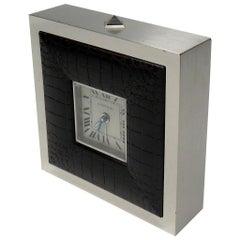 Cartier Paris Burnished Stainless Steel Crome Travel Desk Alarm Clock