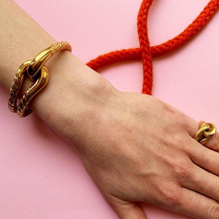Cartier Paris by Georges Lenfant Gold Knot Bracelet and Ring For Sale 10