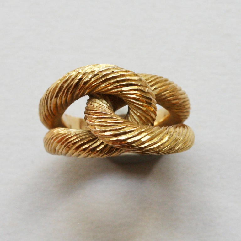 Women's or Men's Cartier Paris by Georges Lenfant Gold Knot Bracelet and Ring For Sale
