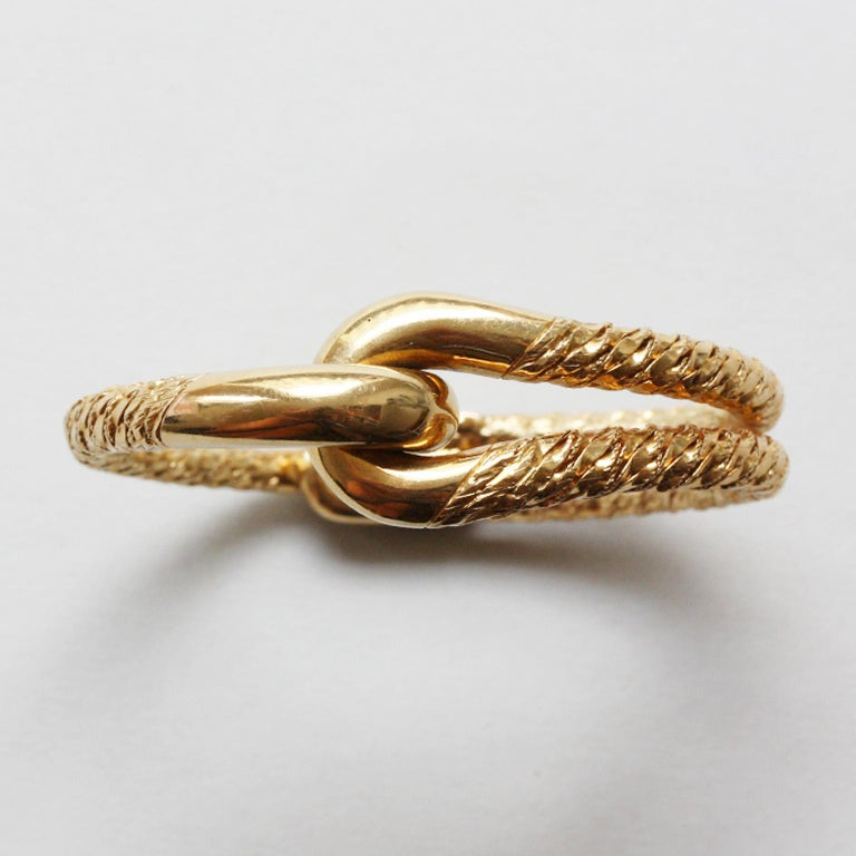 Cartier Paris by Georges Lenfant Gold Knot Bracelet and Ring For Sale 3