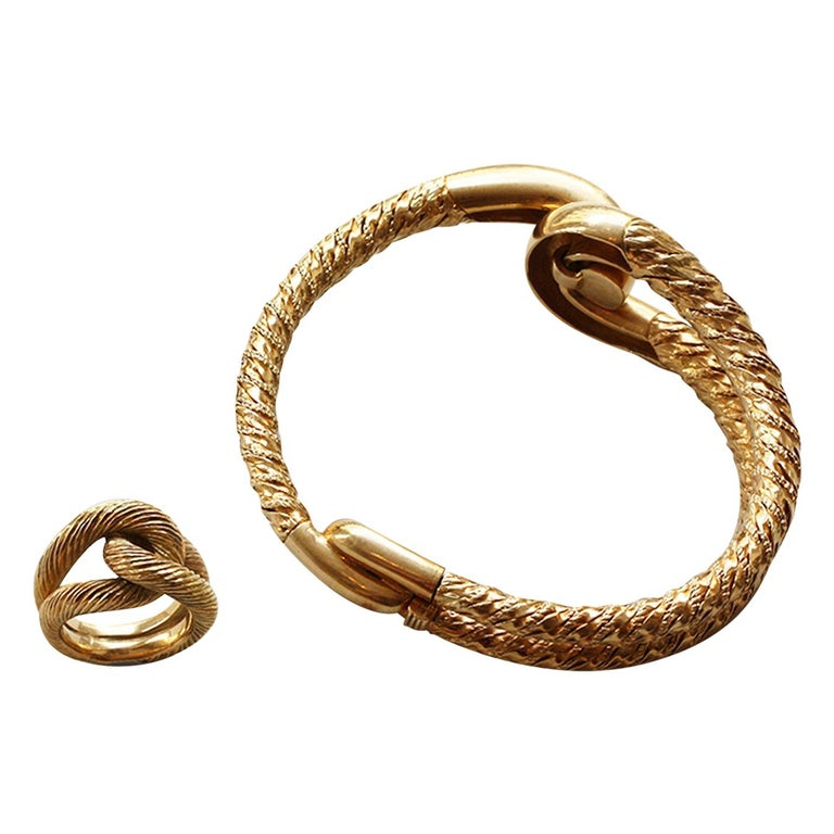 Cartier Paris by Georges Lenfant Gold Knot Bracelet and Ring For Sale