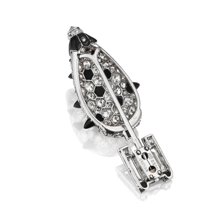 Cartier Paris circa 1925 Art Deco Black Onyx Diamond Topiary Jabot Brooch In Good Condition For Sale In New York, NY