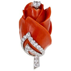 Cartier Paris Carved Coral Diamond Platinum Rose Brooch
