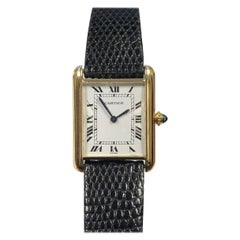 Cartier Paris Classic Gold Mechanical Tank Wristwatch