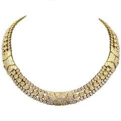 Cartier Paris Diamond 18 Karat Yellow Gold Choker Necklace