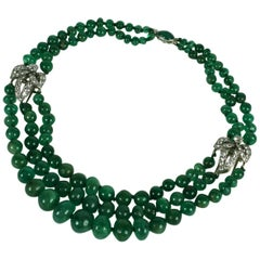Cartier, Paris Diamond Clip and Emerald Bead Necklace
