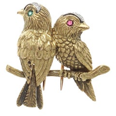 Cartier Paris Diamond Emerald Ruby Gold Bird Brooch