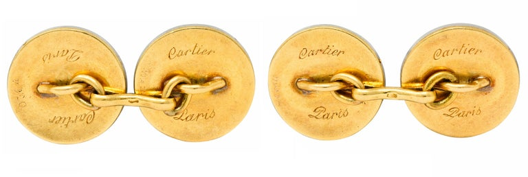 Art Deco Cartier Paris Diamond Enamel Platinum-Topped 18 Karat Gold Men's Cufflinks For Sale
