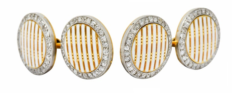 Cartier Paris Diamond Enamel Platinum-Topped 18 Karat Gold Men's Cufflinks In Excellent Condition For Sale In Philadelphia, PA