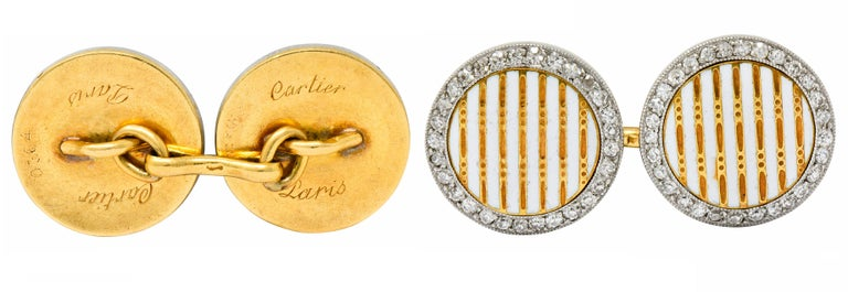 Cartier Paris Diamond Enamel Platinum-Topped 18 Karat Gold Men's Cufflinks For Sale 1