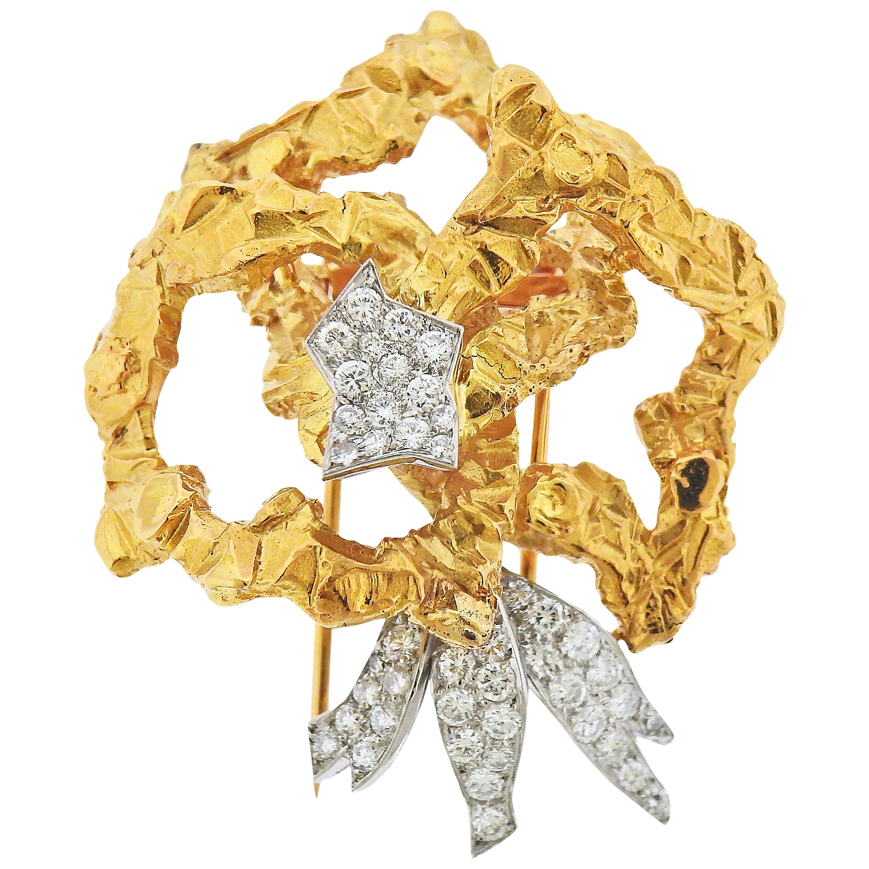 Cartier Paris Diamond Gold Platinum Brooch