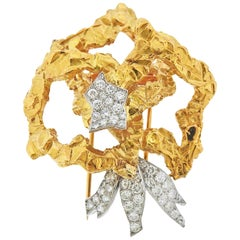 Cartier Paris Diamond Gold Platinum Brooch