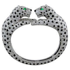 Cartier Paris Diamond Onyx Double Panthère Head Bangle