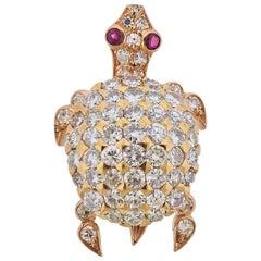 Cartier Paris Diamond Ruby Gold Turtle Brooch