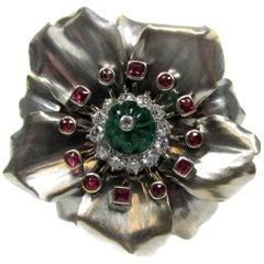 Cartier Paris Emerald Ruby Diamond Gold Platinum Flower Brooch