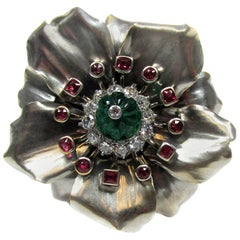 Cartier Paris Emerald Ruby Diamond Gold Platinum Flower Brooch