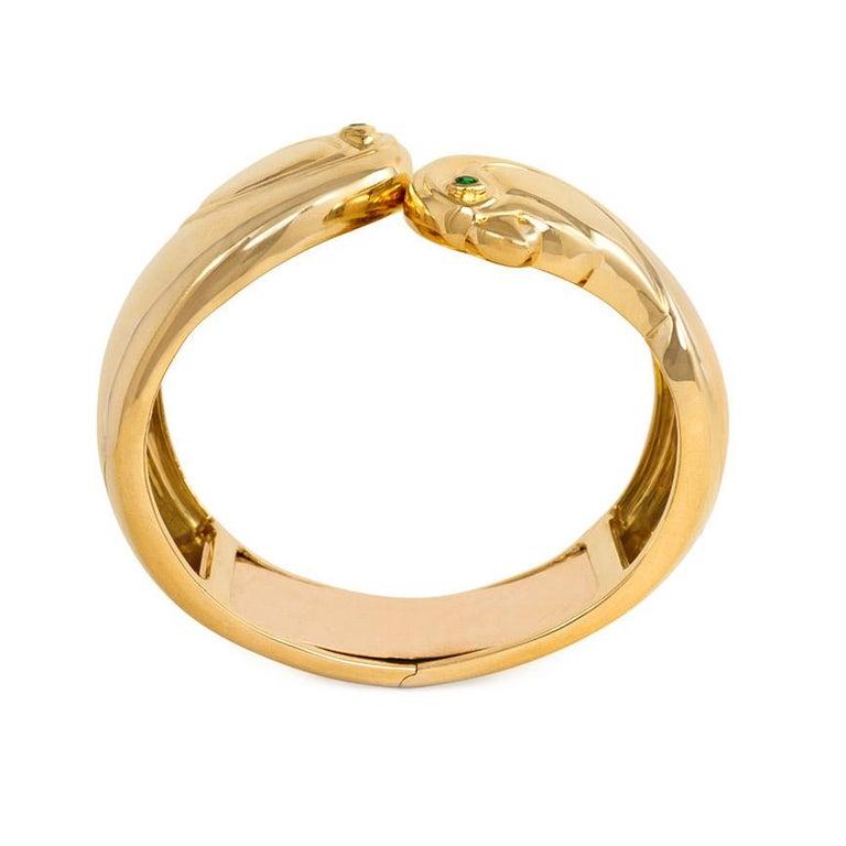 Modern Cartier, Paris Estate Gold Cuff Bracelet with Bird Head Terminals For Sale