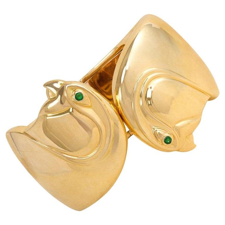 Cartier, Paris Estate Gold Cuff Bracelet with Bird Head Terminals For Sale