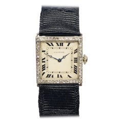 Cartier Paris EWC 1920s Platinum Diamond Ladies Mechanical Wristwatch