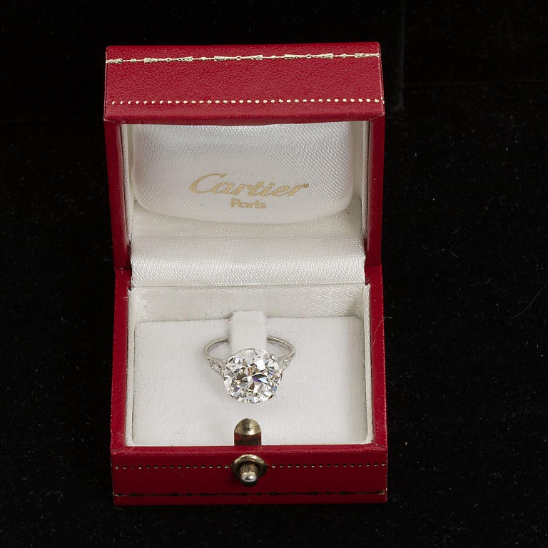 Round Cut Cartier Paris Round Brilliant Diamond Engagement Ring 4.41 Carat White Gold GIA For Sale