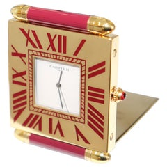 Cartier Paris, French Quartz Quadrant Traveling Alarm Clock