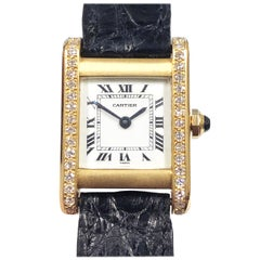 Cartier Paris Gold and Diamond Tank Ladies Mechanical Wristwatch