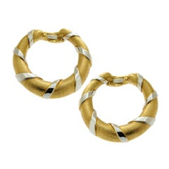 Cartier Paris Gold Hoop Two-Tone Earrings