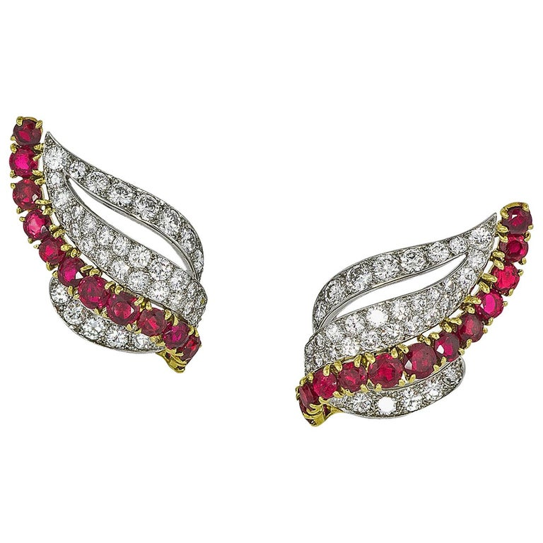 Cartier Paris, Gold, Platinum, Ruby and Diamond Earrings, circa 1955 For Sale