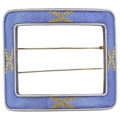 Cartier Paris Guilloche Enamel Gold Silver Buckle Brooch