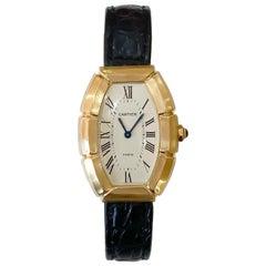 Cartier Paris Ladies Rare Bamboo Tonneau 18 Karat Yellow Gold Watch on Strap