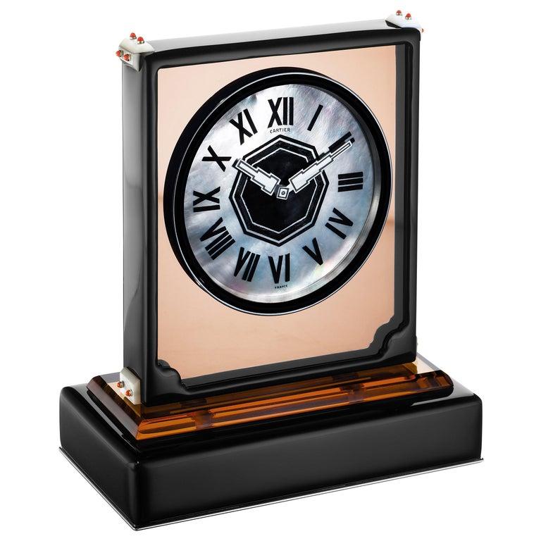 "Cartier Paris ""Ligne S"" Art Moderne Mirror and Enamel Clock, circa 1930 For Sale"