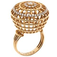 Cartier Paris Nouvelle Vague Diamond 18K Rose Gold Cocktail Ring Size 54