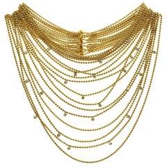 Cartier Paris Nouvelle Vague Diamond Yellow Gold Eighteen-Row Draperie Necklace