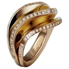 Cartier Paris Nouvelle Vague Diamond Yellow Gold Fan Ring Box Papers