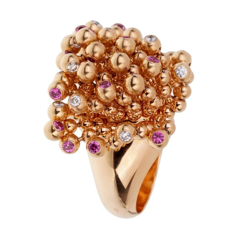 Cartier Paris Nouvelle Vague Pink Sapphire Diamond Rose Gold Ring In Excellent Condition For Sale In Feasterville, PA