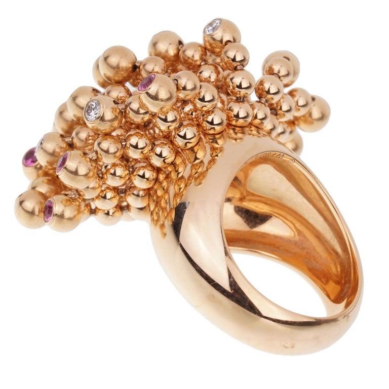 Women's Cartier Paris Nouvelle Vague Pink Sapphire Diamond Rose Gold Ring For Sale