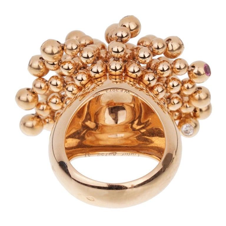 Cartier Paris Nouvelle Vague Pink Sapphire Diamond Rose Gold Ring For Sale 1